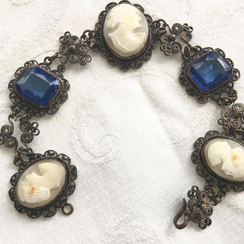 Antique Cameo Bracelet, Filigree Wire Work, Cobalt Glass Stones, Antique Cameo Jewelry