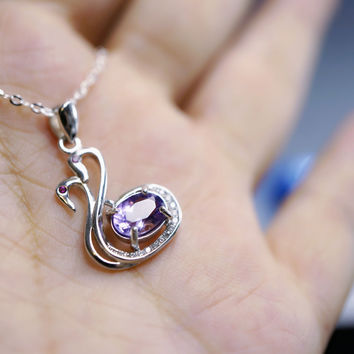 Genuine Amethyst Necklace - Tiny Sterling Silver Couple Swan Necklace, Tiny Natu
