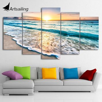 HD Printed 5 piece canvas art beach pictures seascape sunset beach painting canvas painting wall pictures Free shipping ny-1476