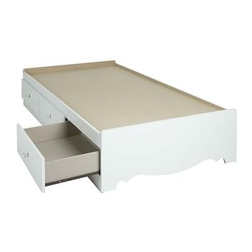 Twin size White Wood Platform Daybed with Storage Drawers