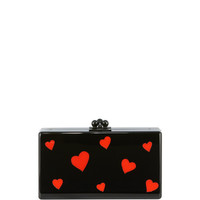 Edie Parker Jean Hearts Acrylic Box Clutch Bag