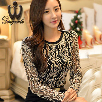 Women blouse shirt 2016 Autumn Sexy Lace Tops Hollow out Crochet lace blouse Casual long-sleeved shirt