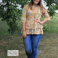 Marvelous Mustard Floral Top