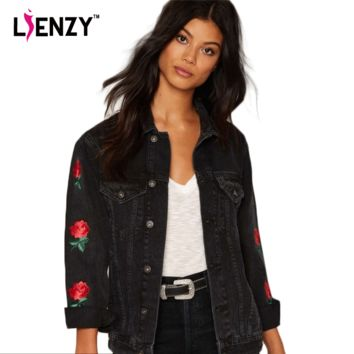 LIENZY American ApparelSpring Women Jacket Rose embroidery Sleeve Vintage Black Grey Women Denim Jacket Coat