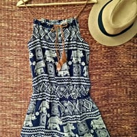 Playsuit Romper Elephants print Boho Jumpsuit Festival Clothing Beach wear Vintage Styles music fest clothes Hippies fabric for women blue