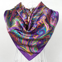 2017 Spring And Autumn Female Satin Scarf,Big Square Scarves Printed,Women Scarf,Purple Polyester Silk Scarf Shawl 90*90cm