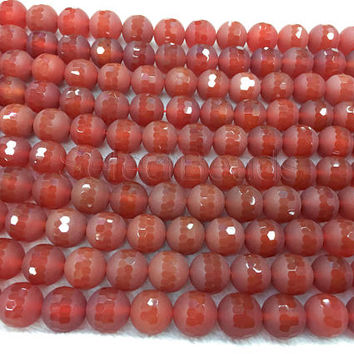 matte and faceted carnelian beads - natural red carnelian beads - centre special cut gemstone beads- special jewlery beads - 15 inch