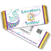 Mermaid Candy Wrappers - Mermaid Birthday Candy - Girls Personalized Candy Bar Wrappers - Under The Sea - Gold and Purple - Mermaid Candy