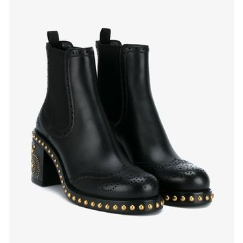 Studded Leather Chelsea Boots - MIU MIU