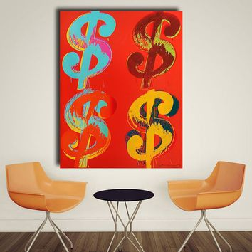 HDARTISAN Four Paper Dollars 1982 by Andy Warhol Art Prints on Canvas for Living Room Home Decoration HD1679 No framed