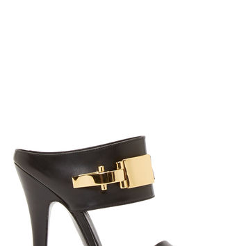Versus Black Leather Decollet Anthony Vaccarello Edition Sandals