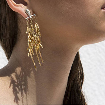 Leaves Dangle Earrings, Chandelier Earrings, Long Gold Earrings, Silver Gold Statement Earrings, Leaves Drop Earrings