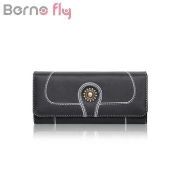 Berno fly Brand Fashion Genuine Leather Women Wallet Female Hasp long Purse Korean Style Lady Trifold Long Wallets Card holders