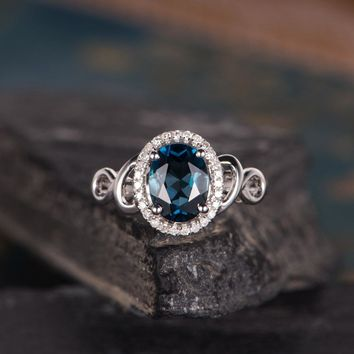 London Blue Topaz Engagement Ring Oval Cut Halo Diamond Unique Antique Wedding Ring