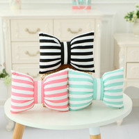 2017 New Cute Soft Fashion Bow Striped Shaped Pillow Warm Soft Kids Birthday Lover Gift for Living Room Home Decoration  MF266
