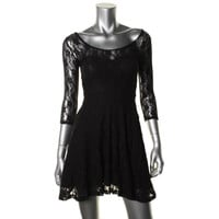 Material Girl Womens Juniors Lace 3/4 Sleeves Party Dress