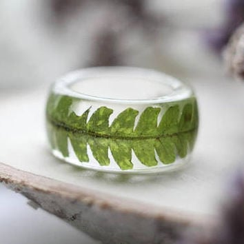 Fern Resin Ring, Fern Jewelry, Transparent Resin Ring, Botanical Resin Ring, Terrarium Jewelry, Preserved in Resin real Fern,