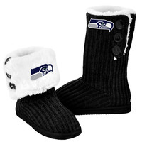 Seattle Seahawks Official NFL Ladies Knit High End Button Boot Slippers