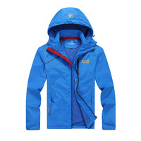 Asian Size L-4XL Spring Autumn Jackets Men Sportswear Zipper Hooded Casual Coat Waterproof Breathable Thin Windbreaker #160181