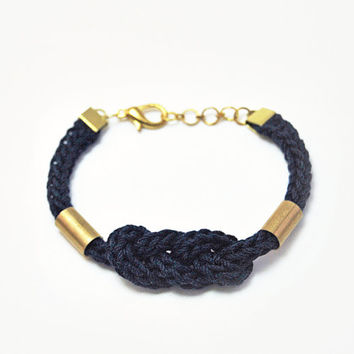 Dark blue bracelet, nautical bracelet with knot and tubes, knot bracelet, cord bracelet