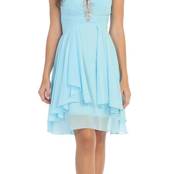 Starbox USA S6099 Beaded Ruched Bust Light Blue Chiffon A-line Short Prom Dress Sweetheart Neck
