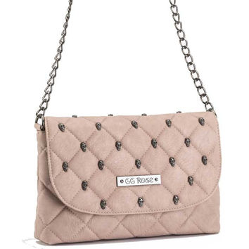 GG Rose Quilted Skull Cross Body Purse Blush