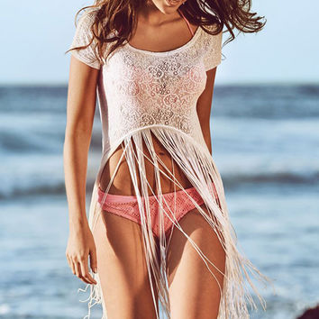 White Round Neck Crop Lace Beachwear with Fringe Detail