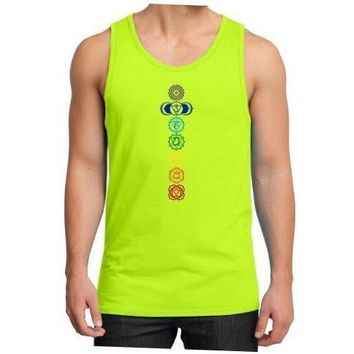 Yoga Clothing for You Mens 7 Colored Chakras Cotton Tank Top