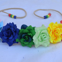 Flower Headband in Rainbow Colors - Rainbow Rose Headband - Flower Crown - Flower Halo - Hippie - Festivals - Raves - PLUR