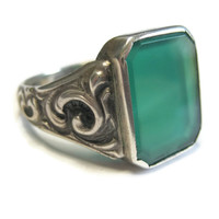 Men's Sterling Scrolling Green Onyx Glass Ring Size 11