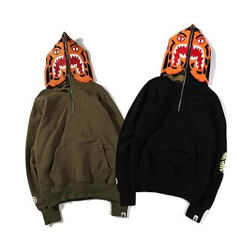 Bape Shark Head Joint Tiger Head Kangaroo Hood Sweater M ~ 2xl | Best Deal Online