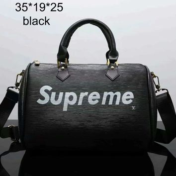 Supreme 2018 spring and summer new travel fashion simple shoulder bag F-LLBPFSH Black