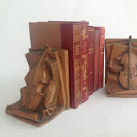 Vintage Violin Bookends, PAGANINI, Book Shelf and Home Decor