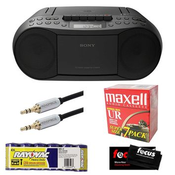 Sony Stereo CD Cassette Radio MP3 Boombox CFDS70BLK Recording Bundle