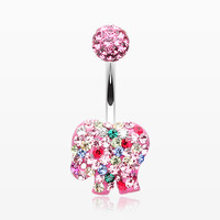 Circus Elephant Cookie Multi-Gem Sparkle Belly Button Ring