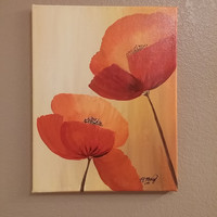 Poppies painting, hand painted wall art, acrylic art, wall decor, wall art, modern art, modern decor, floral painting