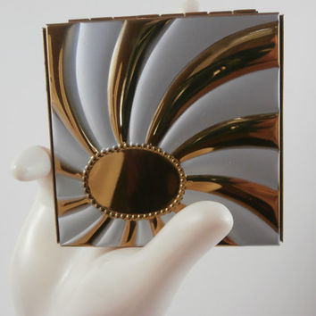 Vintage Jewelry Vanity Powder Compact 1960's American Maid Mirrored PAID SHIPPING