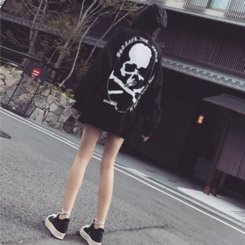 """Philipp Plein"" Women Fashion Personality Skull Letter Print Loose Long Sleeve Thickened Pullover Sweater Tops"