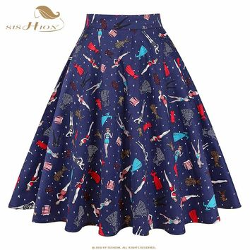 3d02e5f268 SISHION Black Skirt Women High Waist Plus Size Floral Print Polk