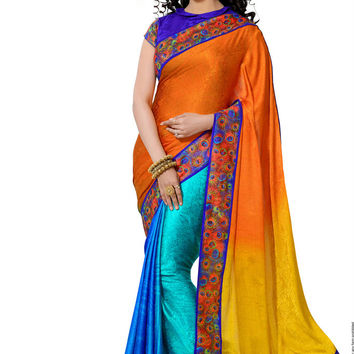 Sensational Multi-Color Peacock Print Border Designer Saree D-201