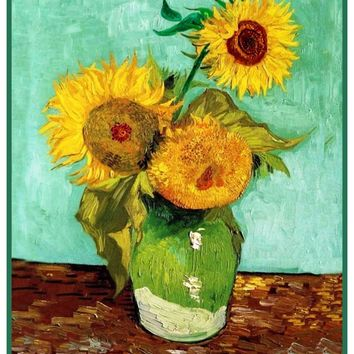 3 Sunflowers by Impressionist Artist Vincent Van Gogh Counted Cross Stitch or Counted Needlepoint Pattern