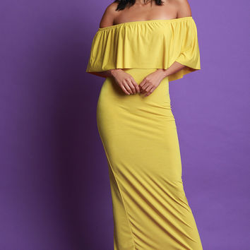Flutter Bardot Fitted Maxi Dress | UrbanOG