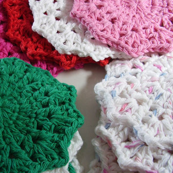 4 Large Facial Scrubbies - Small Washcloth - 100% Cotton - Choose Color combo - Set of 4 - Doily - Coaster - Baby Washcloth