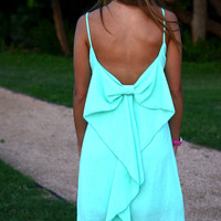 Mint Spaghetti Strap Low Back Bow Dress