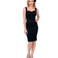 Black Belted Darling Wiggle Dress