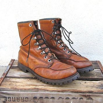 Vintage Worn In Tan Leather Rugged Lug Sole Lace Up Boots Size 11