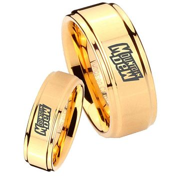 His Her Glossy Step Edges Mountain Dew 14K Gold IP Tungsten Wedding Rings Set