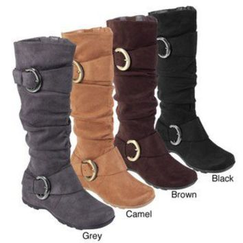 Bamboo by Journee Women's Slouch Boots with Buckle | Overstock.com