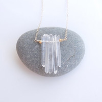 Raw Quartz Necklace in Gold - 5 Stone - Crystal Quartz - OOAK - A Best Seller