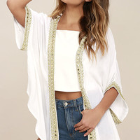 Mediterranean Coast White Embroidered Kimono Top